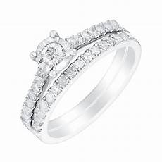 9ct white gold half carat illusion diamond bridal