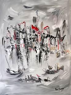 Tableau Abstrait Contemporain Gris Noir Blanc Et
