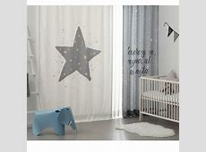 White and Gray Star Print Polyester and Velvet Kids Curtains