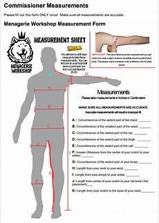 measurement form menagerie workshop custom fur suit costumes and mascot design