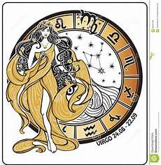 Malvorlagen Jugendstil Kostenlos Jung Jungfrausternzeichen Auf Horoskopkreis Vektor Vektor