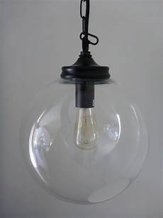clear glass globe pendant 30cm