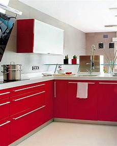 2 modern kitchen designs in white and red colors creating retro modern home interiors