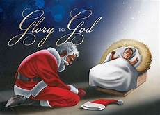 glory to god manger santa and baby jesus christmas card graphic design pinterest baby