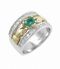 claddagh ring 14k two tone gold emerald and diamonds claddagh irish wedding ring at