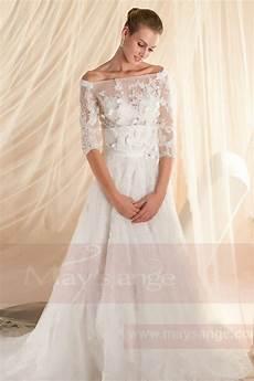 robe de mariage avec manches dentelle et fleures ref