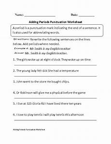 punctuation worksheet for grade 4 20970 punctuation worksheets adding periods worksheet