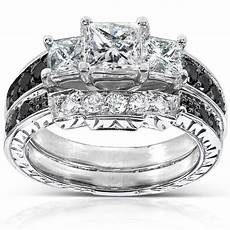 black and white wedding ring sets annello 14k white gold 1 3 5ct tdw black and white diamond bridal ring h i i1 i2
