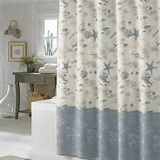 seashell shower curtain 72 quot blue seashell curtain polyester fabric