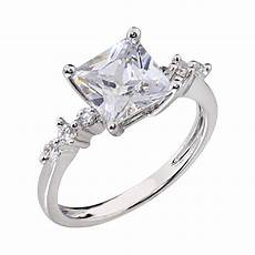 14k white gold plated women wedding band princess cut cz bridal engagement ring