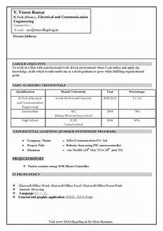 resume format for freshers engineers ece world of reference