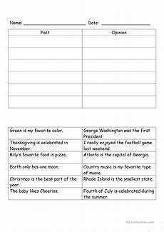 fact and opinion worksheet free esl printable worksheets