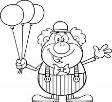 clown with balloons coloring page free printable