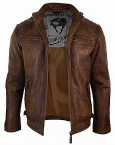 veste style motard homme 84241 veste marron en v 233 ritable cuir lisse vielli pour homme avec fermeture 233 clair style motard retro