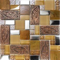 Glass Mosaic Kitchen Backsplash Sle Copper Metallic Leaf Decor Insert Glass Mosaic Tile