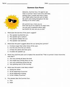 summer sun poem and reading comprehension questions keep kids reading this summer with this