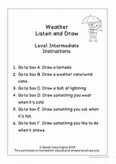weather listening worksheets 14609 listen read draw weather worksheets worksheet free esl printable worksheets made by teachers