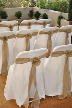 items similar to burlap rosette wedding chair sashes for