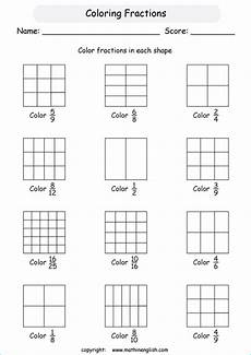 fraction shaded in worksheets 3980 color or shade fractions in basic shapes introduction to understanding fractions math worksheet