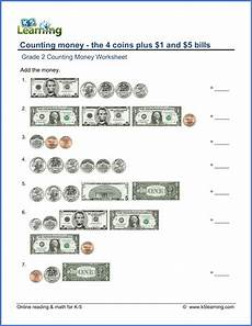 learn money worksheets 2227 grade 2 counting money worksheet on counting the 4 coins plus 1 and 5 bills auditory
