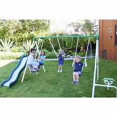 metal swing sets sportspower live oak metal swing and slide set walmart