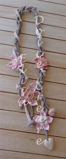collane con fiori di stoffa 68 best images about collane in fettuccia fiori di stoffa