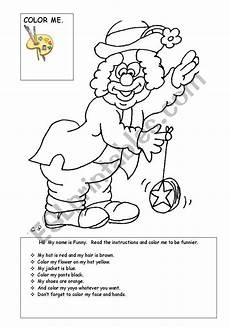 color the clown esl worksheet by sechkeen