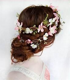 rustic wedding hair wreath woodland headpiece pink bridal hair flower folklore fern pink