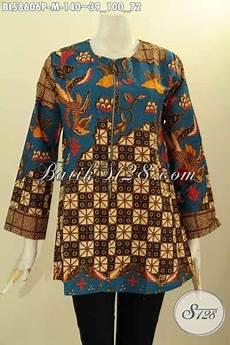 baju batik atasan kemeja batik perempuan krah lengan panjang bahan adem kwalitas