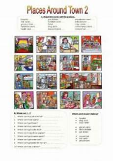 places around town worksheets 16029 places around town 2 esl worksheet by miameto