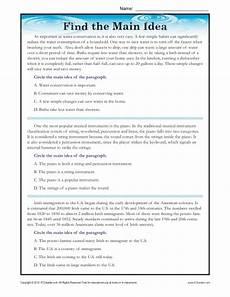 high school main idea reading passage worksheet