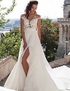 beach wedding dresses boho sexy v neck wedding dresses chiffon lace appliques bridal gowns high