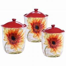 sunflower canisters for kitchen certified international sunflower 3 canister