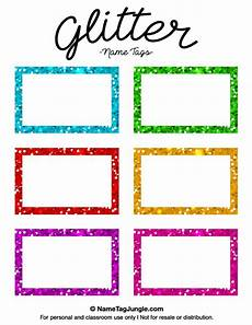 Free Printable Glitter Name Tags The Template Can Also Be