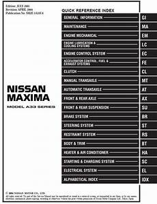 auto repair manual free download 2005 nissan maxima transmission control nissan maxima model a33 series 2002 service manual body pdf download