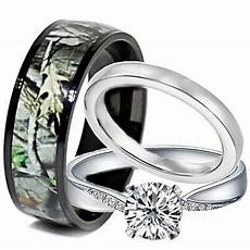 his and hers titanium camo 925 silver engagement black