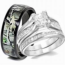 his titanium camo hers sterling silver wedding rings camouflage black 3pcs ebay