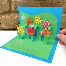 3d flower card diy pop up cards for program