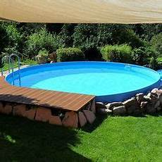 pool in erde einbauen stahlwandpool schwimmbecken visionzon 5 00 x 1 44m