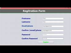 how to create registration form using java in netbeans 7 youtube