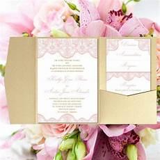 pocket fold wedding invitations quot vintage lace quot blush pink