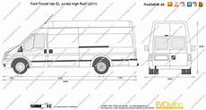 ford transit abmessungen ford transit el jumbo high roof vector drawing
