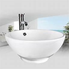 Bathroom White Porcelain Ceramic Vessel Sink Chrome