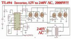 tl494 inverter circuit with irf3205 power mosfet 2000w 12v to 240v ac youtube