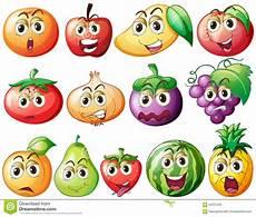 Malvorlagen Obst Mit Gesicht Frische Obst Und Gem 252 Se Mit Gesicht Stock Abbildung