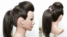 ponytail hairstyle for hair with front puff and braids youtube