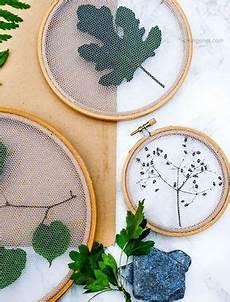 pflanzen deko kreativ und selbstgemacht alles im rahmen getrocknete bl 228 tter im stickrahmen