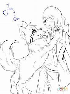 anime boy with by zavekey coloring page free