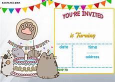 happy birthday invitation card template free printable pusheen birthday invitation template free