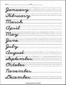 elementary cursive handwriting worksheets 21996 cursive handwriting handwriting practice months abcteach cursive writing